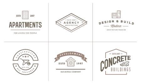Conjunto de iconos del edificio de la construcción y reparación de viviendas puede ser utilizado como logotipo o icono de primera calidad Foto de archivo - 50194764