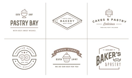 coffee blender: Set of Bakery Pastry Elements and Bread Icons Illustration can be used as Logo or Icon in premium quality Illustration