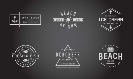 sunglasses beach: Set of Beach Sea Bar Elements and Summer can be used as Logo or Icon in premium quality Illustration