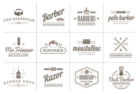 バーバー ショップ要素と剃るショップ アイコン イラストのセットは、プレミアム品質のロゴやアイコンとして使用できます。