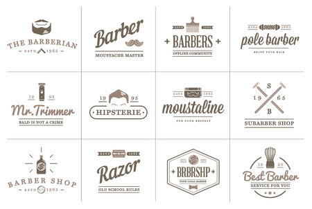 barber: Set of Barber Shop Elements and Shave Shop Icons Illustration can be used as Logo or Icon in premium quality