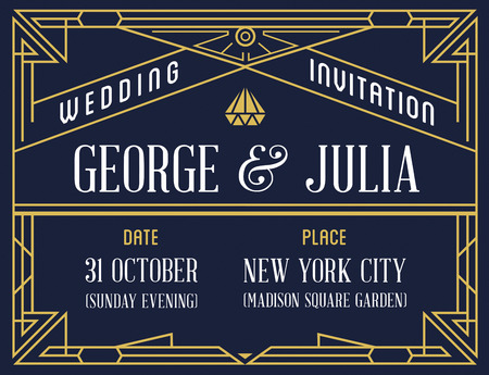 epoch: Gatsby Style Invitation in Art Deco or Nouveau Epoch 1920s Gangster Era Vector