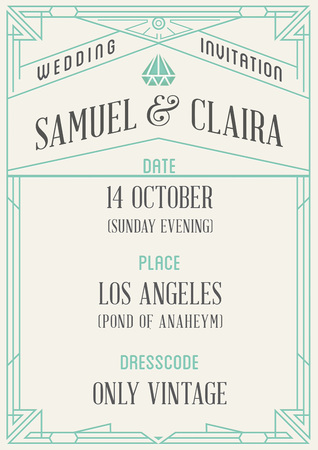 modern frame: Gatsby Style Invitation in Art Deco or Nouveau Epoch 1920s Gangster Era Vector