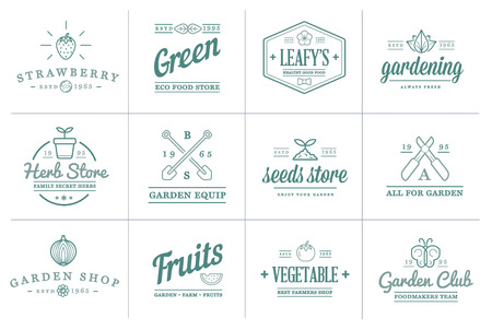 herb garden: Set of Vector Garden and Farm Elements and Fruits or Vegetables Icons Illustration can be used as Logo or Icon in premium quality