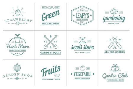 Set von Vektor Garten und Farm-Elemente und Obst oder Gemüse Icons Illustration kann als Logo oder Symbol in Premium-Qualität verwendet werden Logo