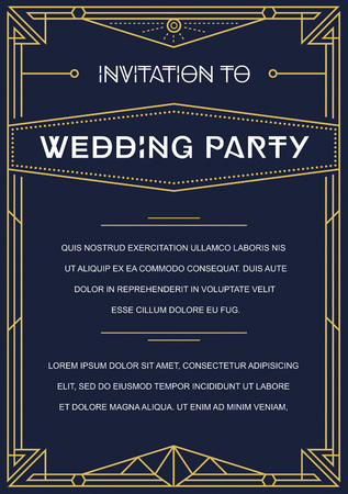 wedding party: Gatsby Style Invitation in Art Deco or Nouveau Epoch 1920s Gangster Era Vector