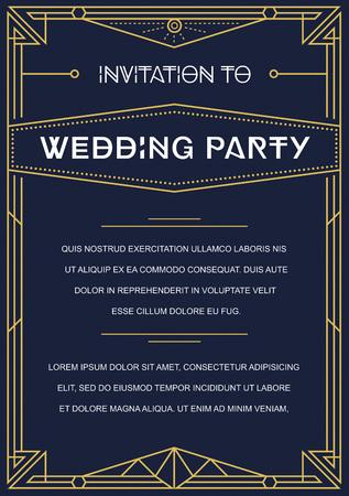 invitación a fiesta: Invitación Gatsby estilo de Art Deco Nouveau o Época del año 1920 Gangster Era vectorial Vectores
