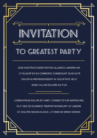 Gatsby Style Invitation in Art Deco or Nouveau Epoch 1920's Gangster Era Vector  イラスト・ベクター素材