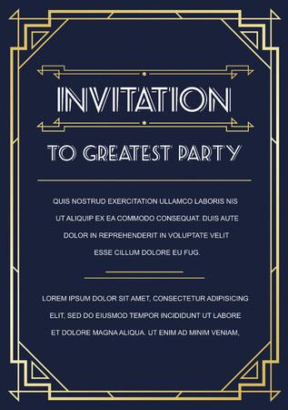Gatsby Style Invitation in Art Deco or Nouveau Epoch 1920's Gangster Era Vector Vettoriali