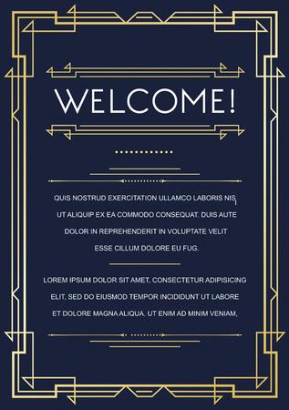 アールデコやアール ヌーボー時代の 1920 年代のギャング時代ベクトルでギャツビー スタイルの招待状