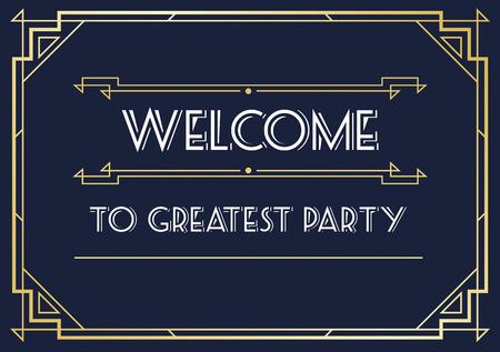 era: Gatsby Style Invitation in Art Deco or Nouveau Epoch 1920s Gangster Era Vector
