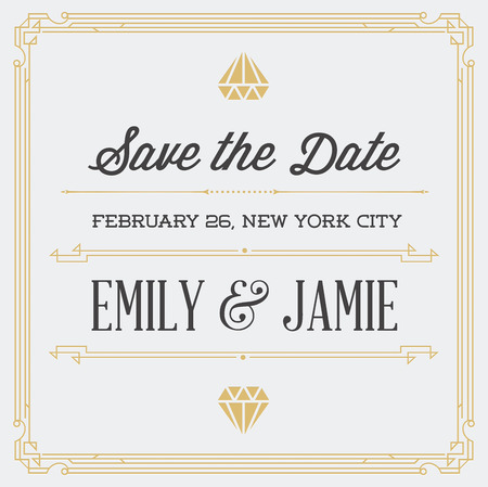 epoch: Vintage Style Invitation for Wedding Save the Day in Art Deco or Nouveau Epoch 1920s Gangster Era Vector