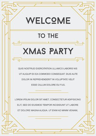 thirties: Gatsby Style Invitation in Art Deco or Nouveau Epoch 1920s Gangster Era Vector