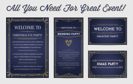 Great Style Invitation in Art Deco or Nouveau Epoch 1920s Gangster Empire or Boardwalk Era Vector Set for Main Event