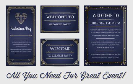 アールデコやアール ヌーボー時代の 1920 年代のギャングの帝国または遊歩道時代ベクトルで素晴らしいスタイルの招待状セットのメイン イベントの  イラスト・ベクター素材