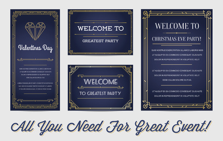 Great Style Invitation in Art Deco or Nouveau Epoch 1920's Gangster Empire or Boardwalk Era Vector Set for Main Event