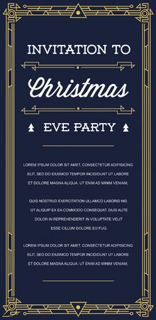 epoch: Gatsby Style Invitation in Art Deco or Nouveau Epoch 1920s Gangster Era Vector