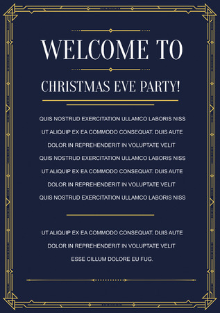 Gatsby Style Invitation in Art Deco or Nouveau Epoch 1920s Gangster Era Vector
