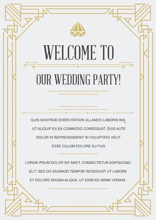wedding  art: Gatsby Style Invitation in Art Deco or Nouveau Epoch 1920s Gangster Era Vector