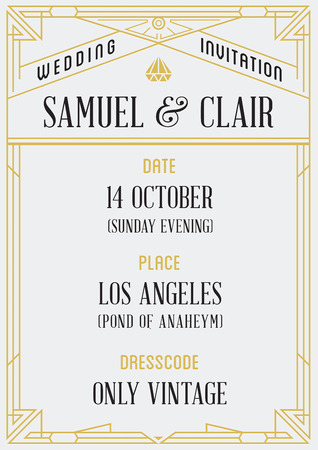 Gatsby Style Invitation in Art Deco or Nouveau Epoch 1920's Gangster Era Vector 向量圖像