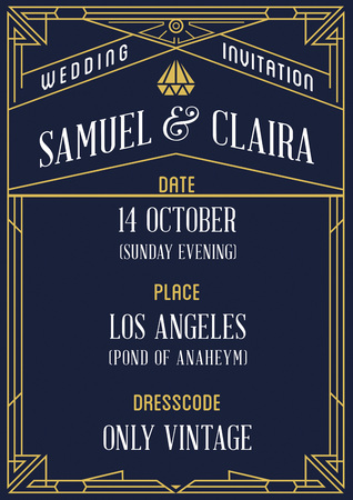 art nouveau design: Gatsby Style Invitation in Art Deco or Nouveau Epoch 1920s Gangster Era Vector