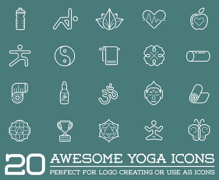 yoga mat: Set of Vector Yoga Zen Sport Elements and Fitness Healthy Illustration