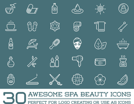 Set of Vector Spa Beauty Yoga Sport Elements Illustration