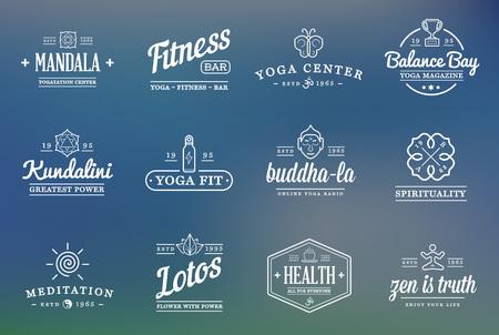 Set von Vektor-Yoga Zen Sport Elemente und Fitness Gesunde Illustration