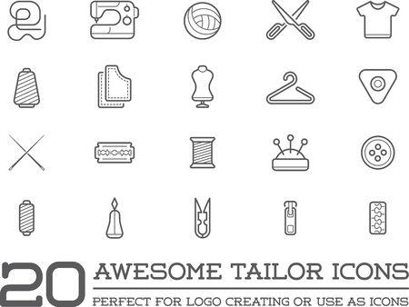 Set von Vector Schneiderei Tailor Nähen Elemente und Nähen Stricken Illustration