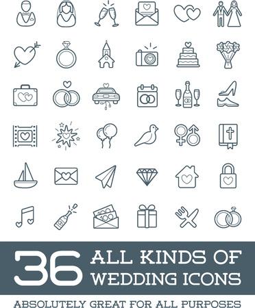 結婚式結婚やブライダルのアイコンのすべての種類のベクトルを設定します。