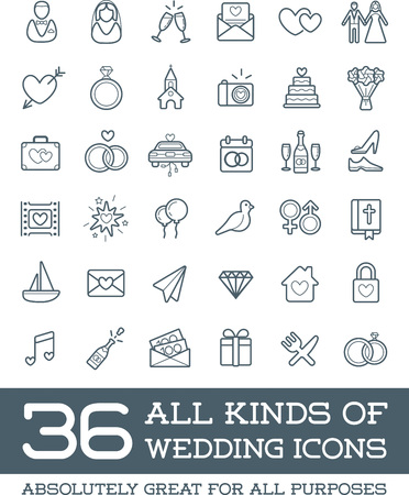 All Kinds of Wedding Marriage or Bridal Icons Set Vector 版權商用圖片 - 53371212