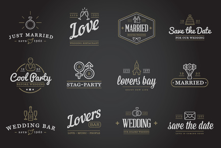 wedding day: Set of Vector Wedding Love Elements Merry Me Illustration