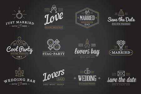 wedding church: Set of Vector Wedding Love Elements Merry Me Illustration