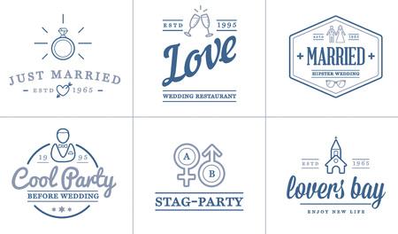 wedding rings: Set of Vector Wedding Love Elements Merry Me Illustration