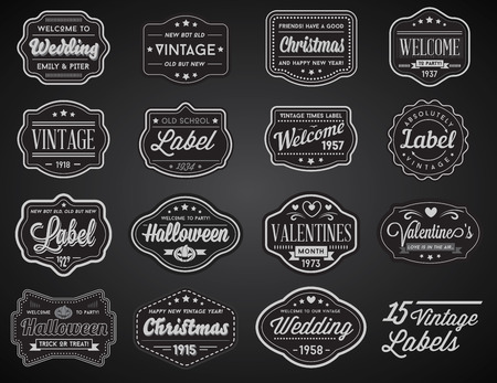retro design: Vector Set of Vintage Retro Styled Premium Design Labels