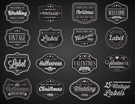 colorful vintage: Vector Set of Vintage Retro Styled Premium Design Labels