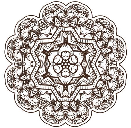 meditation isolated white: Ethnic Fractal Mandala Vector Meditation looks like Snowflake or Maya Aztec Pattern or Flower too Isolated on White
