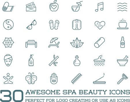 bamboo mat: Set of Vector Spa Beauty Yoga Sport Elements Illustration