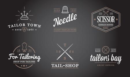coser: Conjunto de vector de sastrería a medida Sew Elementos de coser y de tejer ilustración se puede utilizar como logotipo o icono de primera calidad