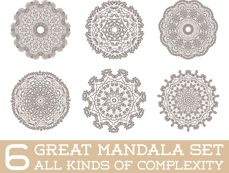 design visionary: Set of Ethnic Fractal Mandala Vector Meditation Tattoo looks like Snowflake or Maya Aztec Pattern or Flower too Isolated on White