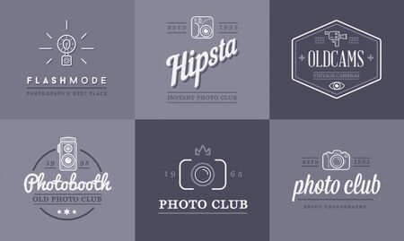 video camera: Set of Vector Photo Camera Photography Elements and Video Camera Icons Illustration