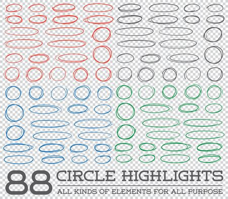 rounds: Red Hand Drawn Circles Rounds Bubbles Set Collection in Vector