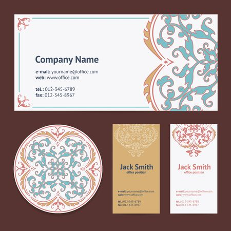 encaustic: Corporative Business Cards Design Set and Envelope with Beer Mat with Turkish Ornament and Damask Pattern Background