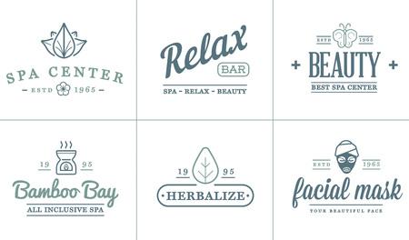 masajes relajacion: Conjunto de vectores de la belleza del balneario Yoga Deporte elementos de ilustración