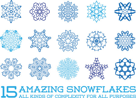 fractals: Set of Snowflakes Fractals or Mandala icons great for christmas or ethnic use in vector