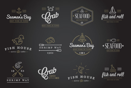 mariscos: Conjunto de elementos del alimento vector Mar y Mar signos Ilustración