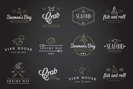 FRESH seafood: Set of Vector Sea Food Elements and Sea Signs Illustration Illustration