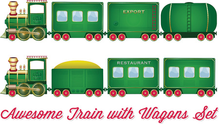 wagons: Train With Wagons Vector Green Locomotive with Red Wheels and Different Wagons Looks like Cartoon Set or Collection Illustration
