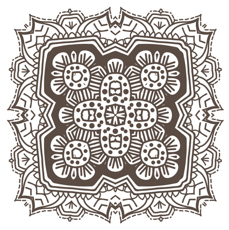Ethnic Fractal Mandala Vector Meditation looks like Snowflake or Maya Aztec Pattern or Flower too Isolated on White Stock Vector - 53374779