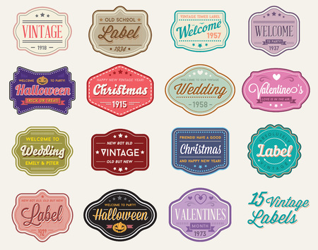 label sticker: Vector Set of Vintage Retro Styled Premium Design Labels